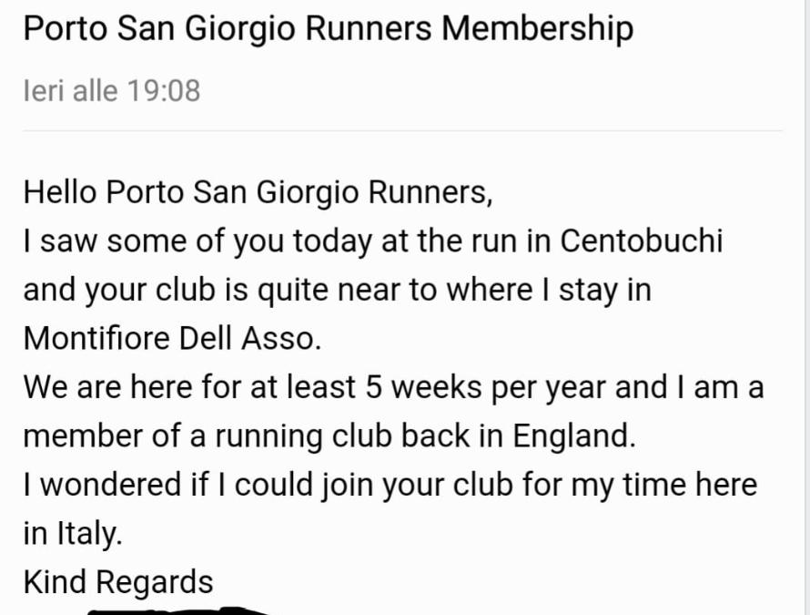Hello Porto San Giorgio Runners!